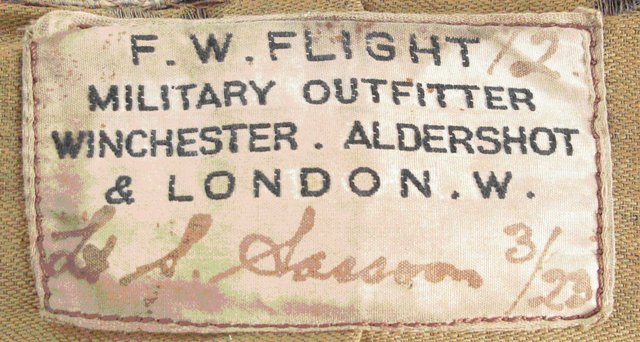 Label inside Sassoon's service dress jacket.