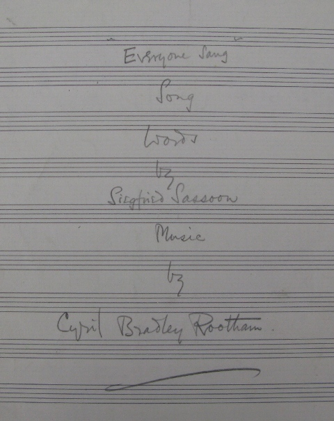 Cover sheet of Rootham's setting of 'Everyone Sang'