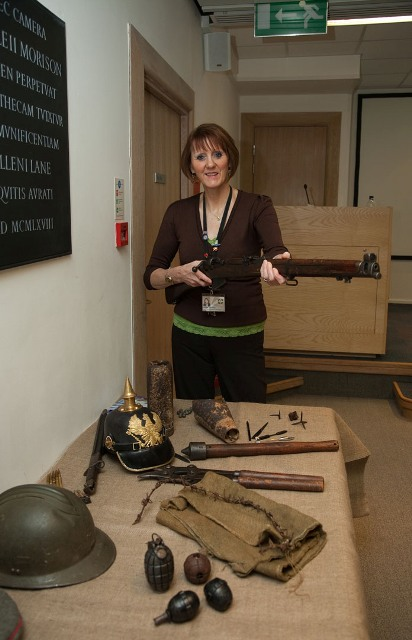Robina Hodgson with a selection of First World War artefacts