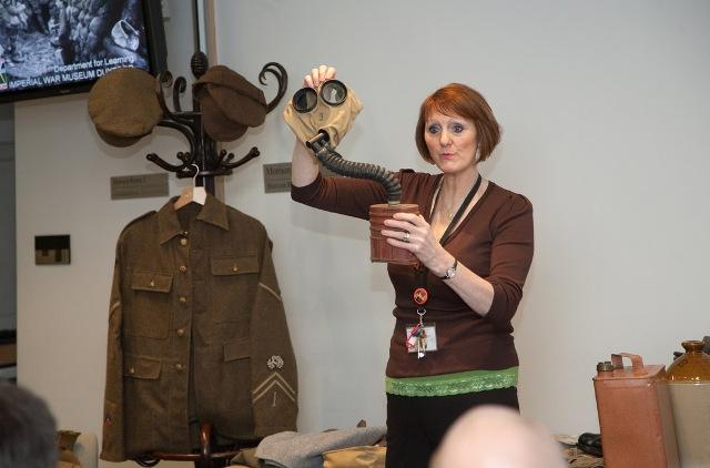 Robina Hodgson demonstrates a respirator